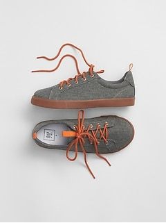 Lace-Up Chambray Sneakers