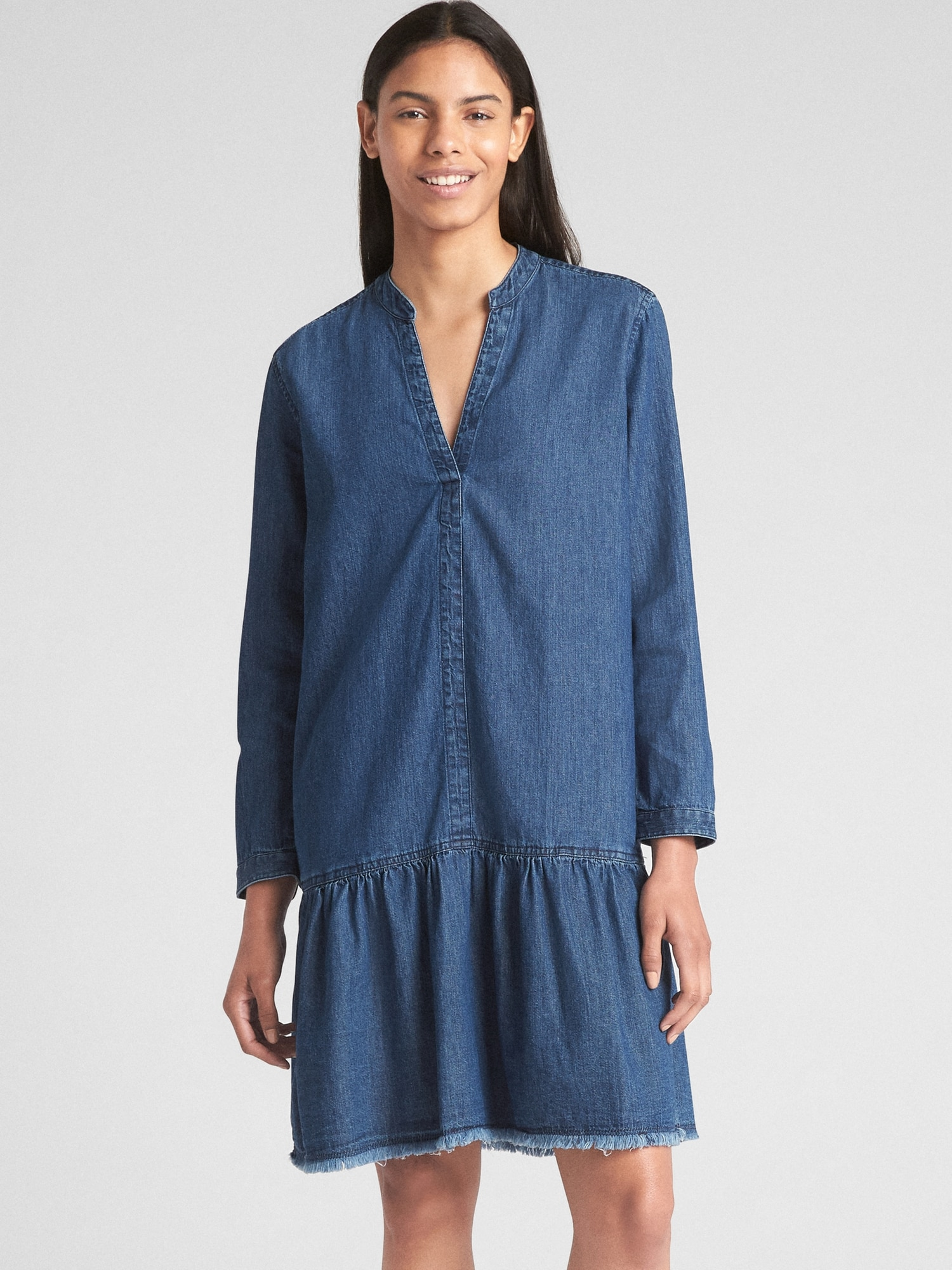 Long Sleeve Popover Drop Waist Dress In Denim