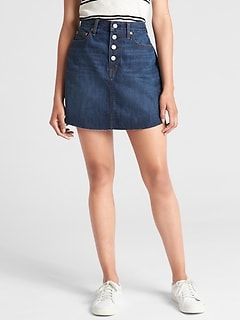 Denim Mini Skirt with Button-Fly