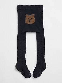 Bear Graphic Cable-Knit Tights