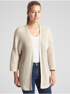Open-Front Plaited Rib Cardigan Sweater