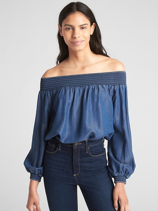 Smocked Off Shoulder Balloon Sleeve Top In Tencel™ by Gap