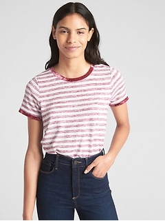 Softspun Velvet-Trim Stripe Crewneck T-Shirt
