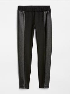 Faux-Leather Panel Ponte Pants