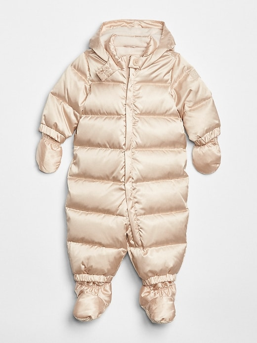 Gap Baby Down Puffer Snowsuit Metallic Frost Size 0-6 M