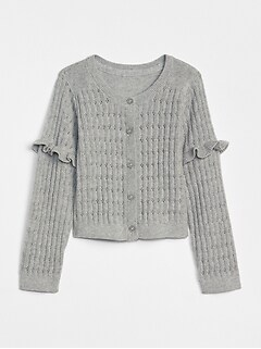 Pointelle Ruffle Cardigan Sweater