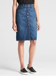 High Rise Button-Front Denim Pencil Skirt