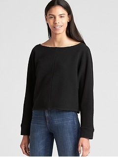 Boxy Ottoman Ribbed Long Sleeve Top
