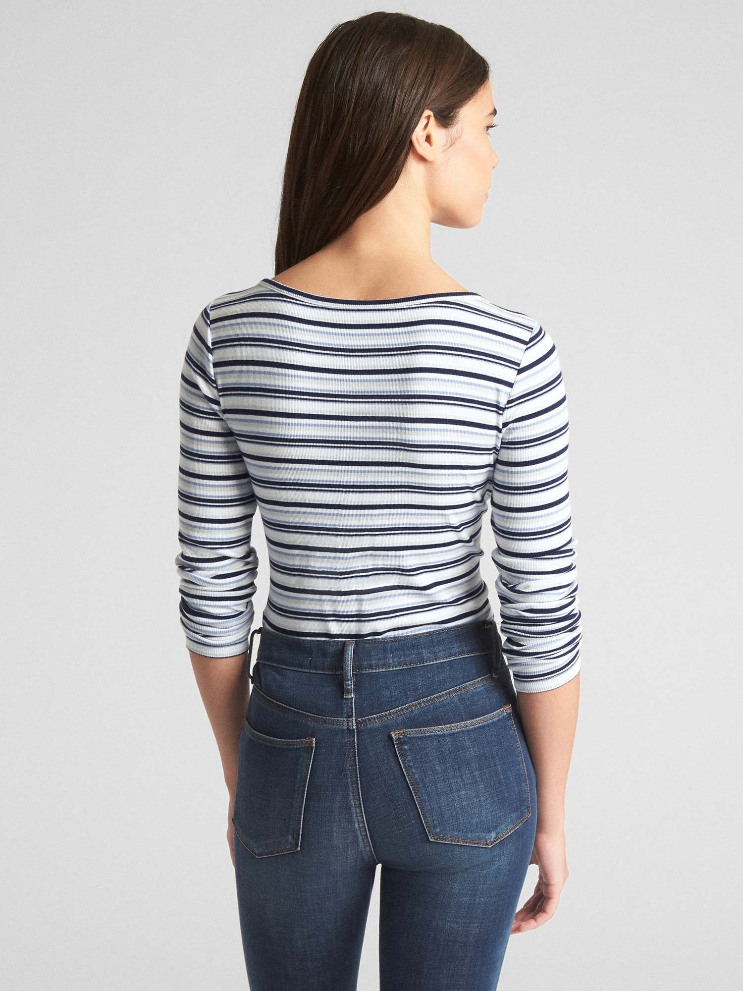 ec6dc563f1 Featherweight Ribbed Stripe Long Sleeve T-Shirt | Gap