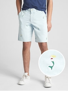 "10"" Embroidered Twill Shorts"