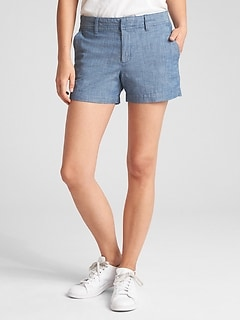 "Mid Rise 3"" City Shorts in Chambray"