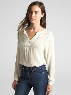 Crinkle Long Sleeve Lace-Trim Blouse