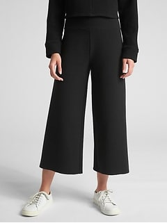 Ottoman Ribbed Crop Wide-Leg Pants