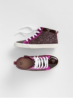 Glitter Colorblock Hi-Top Sneakers