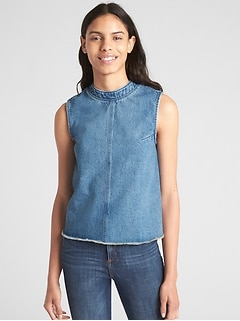 Split-Back Tank Top in Chambray