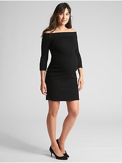 Maternity Ribbed Softspun Off-Shoulder Dress