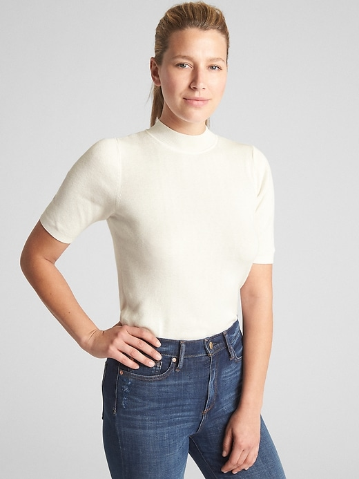 Short Sleeve Pullover Mockneck Sweater by Gap