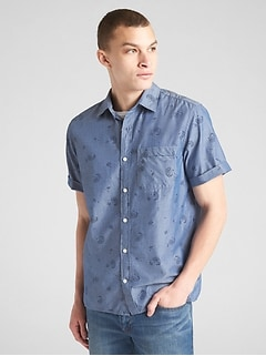 Standard Fit Short Sleeve Print Shirt in Chambray