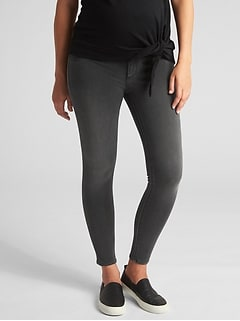 Maternity Inset Panel Knit Favorite Ankle Jeggings