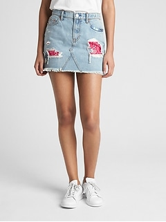 Denim Mini Skirt in Rip and Repair