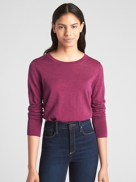 Pullover Crewneck Sweater In Merino Wool by Gap
