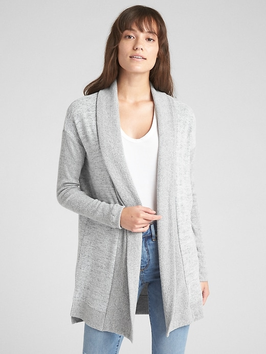 Softspun Open Front Shawl Collar Cardigan Sweater by Gap