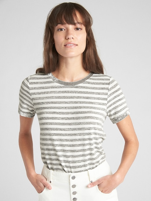Softspun Velvet Trim Stripe Crewneck T Shirt by Gap