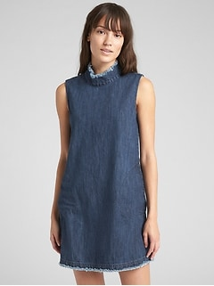 Sleeveless Mockneck Shift Dress in Denim