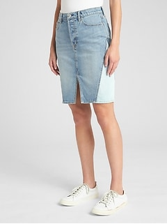High Rise Denim Skirt with Pieced Detail