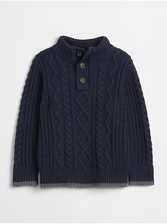 Sherpa-Lined Henley Sweater