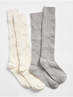 Cable-Knit Knee-High Socks