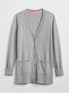 Uniform Elongated Cardigan Sweater