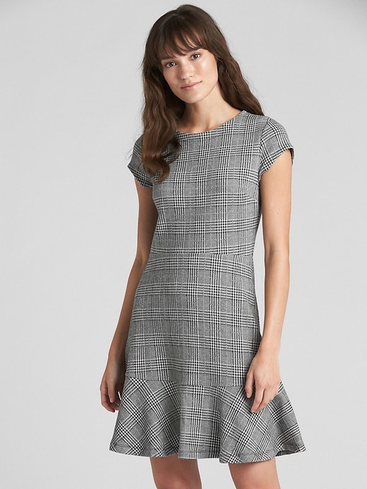 Plaid Fit And Flare Peplum Dress In Ponte by Gap