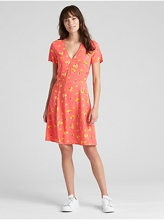 Short Sleeve Floral Print Fit and Flare Dress