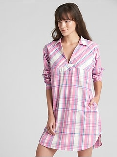 Poplin Sleep Shirtdress with Embroidered Detail