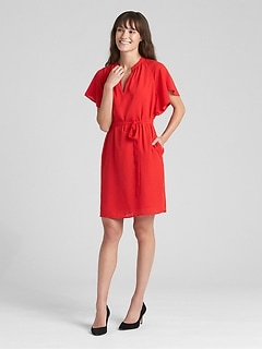 Flounce Short Sleeve Tie-Belt Dress