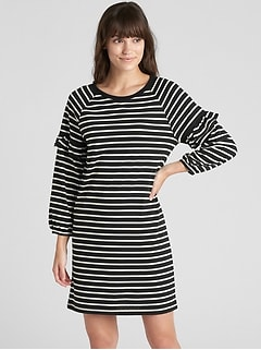 Ruffle Balloon Sleeve Stripe Dress