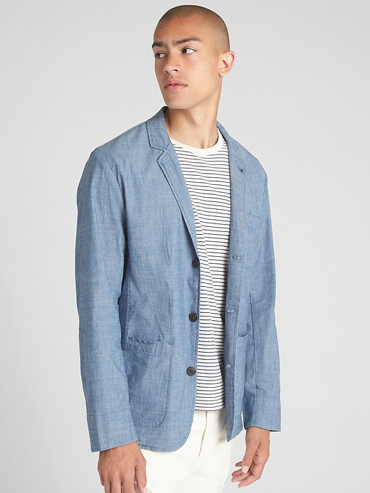 Wearlight Blazer In Chambray With Gap Flex by Gap