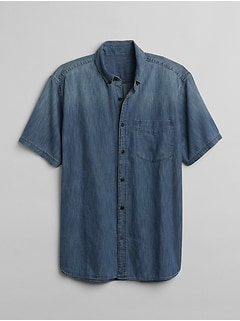 Standard Fit Short Sleeve Embroidered Shirt in Denim