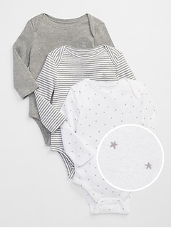 Baby First Favorite Starry Long Sleeve Bodysuit (3-Pack)