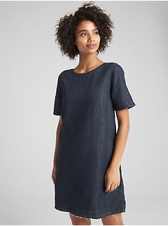Denim Shift Dress with Let-Down Hem