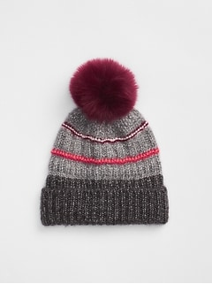 Metallic Mix-Stitch Pom-Pom Beanie 88deb262b0c1