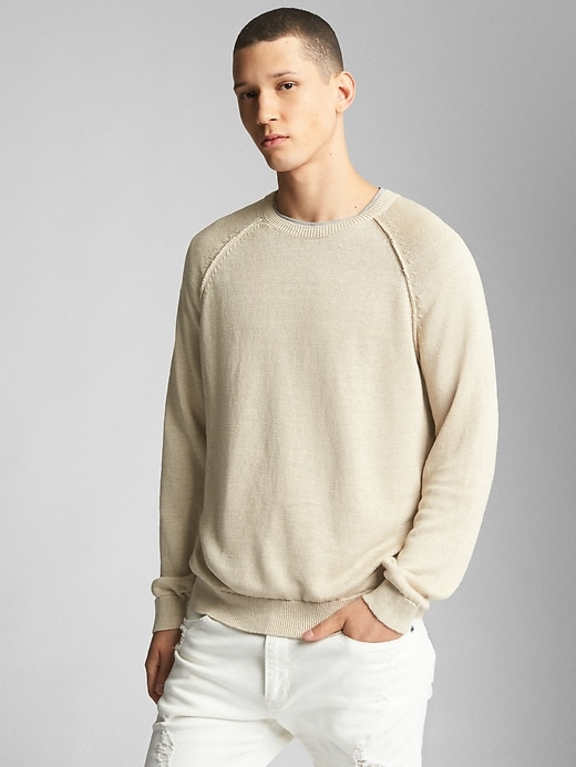 Raglan Sleeve Crewneck Pullover Sweater In Linen by Gap
