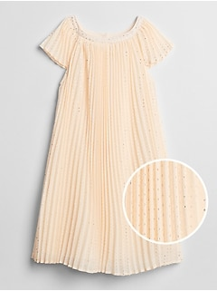 Metallic Dot Pleated Dress