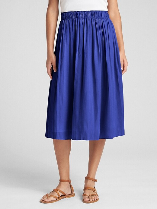 Gap Womens Pleated Midi Skirt Neptune Blue Size XS