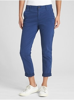 Girlfriend Twill Stripe Chinos with Stud Detail