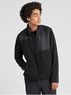 Hybrid Track Jacket with Hidden Hood
