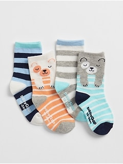 Critter Stripe Crew Socks (4-Pack)