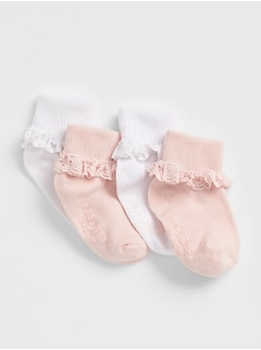 Lace Roll Crew Socks (4-Pack)