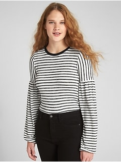 Softspun Stripe Balloon Sleeve Top
